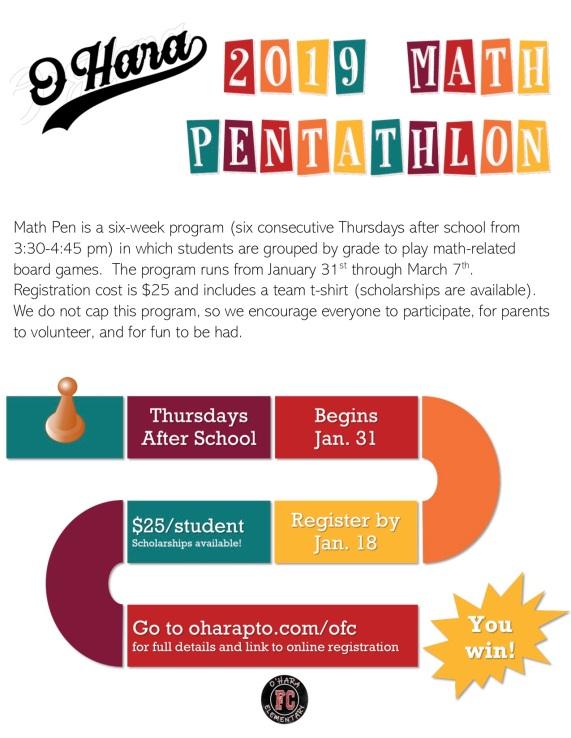 2019 Math Pentathlon flyer